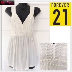 Forever 21 Beaded Ivory Top
